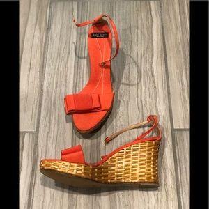 Orange Kate Spade Wedge Sandal with Ankle Strap
